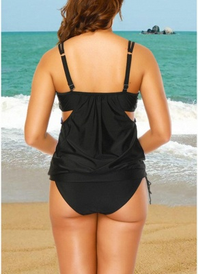 Gradient Print Sleeveless Backless Padded Wireless Swimsuit_5