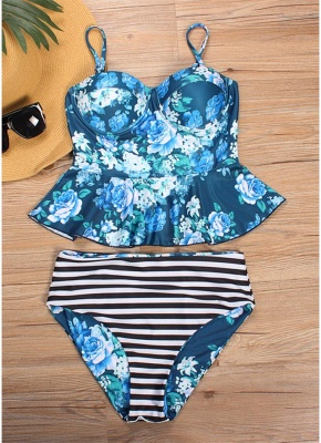 Women Floral Printed Sexy Bikini Set Swimsuit  Underwire Padded Beach Wear_5
