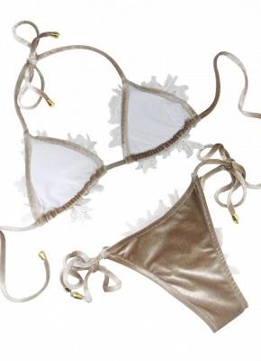 Women Velvet Swimsuit Halter Crochet Lace Tie Wireless Swimwear Sexy Bikini Beach Wear_4