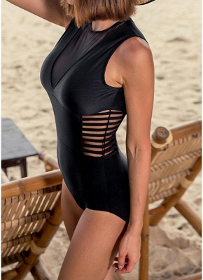 New  Women One-piece Swimsuit Mesh V Neck Hollow Out Solid Padded Beach  Swimwear Black_4