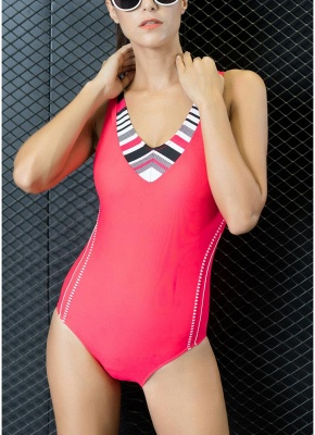 Women Sporty One-Piece Swimsuit Cut Out Racer Back Padded  Playsuit_1
