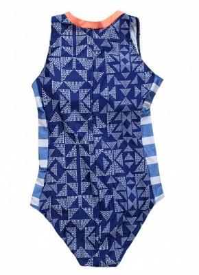 Women One Piece Swimsuit  Geometric Stripe Zipper Contrast Bodysuit Beach Wear Swimwear_3