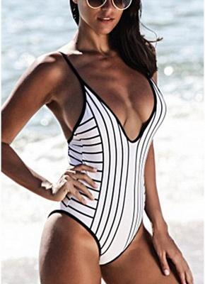 Women One Piece Swimsuit High Cut Open Back  Playsuit Jumpsuit Rompers_5