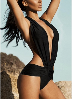 Women Swimsuit Deep V Halter Backless Swimwear Beach Playsuit Jumpsuit Rompers_1