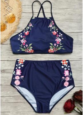 Women Floral Sexy Bikini Set Strappy Backless Padding High Wasit_5