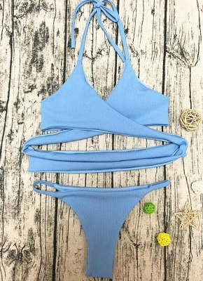 Women Sexy Bikini Deep V Halter Cross Low Waist Two Piece_5