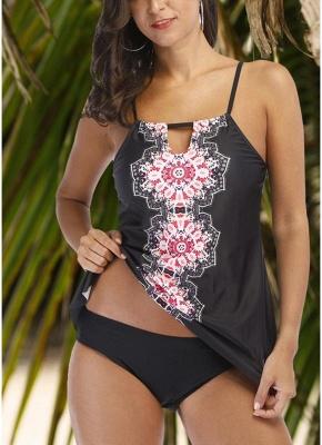 Women Tankini Plus Size Swimsuit Tribal Printed Padded Sexy Bikini Set Push Up Beachwear_1