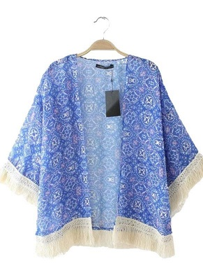 Vintage Retro Print Tassel Fringe Sheer Chiffon Blue Kimono_3