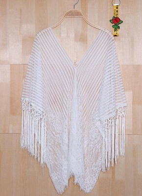 white one size Sheer Lace Tassel Kaftan Beach Cover Up_5