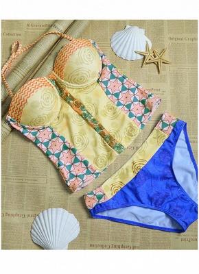 Women Sexy Bikini Set Flower Geometric Print Underwire Push Up Swimsuit_4