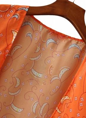 Chiffon Open Front Geometric Print 3/4 Batwing Sleeve Thin Kimono_5