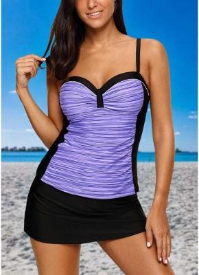 Women Sexy Bikini Set Swimsuit Push Up  Contrast Beach Wear Swimwear Plus Size Tankini Skirt Set_2