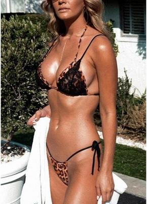 Women Swimsuits Leopard Print Lace Halter Bandage Thong Sexy Bikini Swimwear Bathing Suit_2