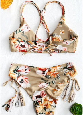 Women Two Pieces Floral Print Swimsuit Tassel Sexy Bikini Set Bathing_3