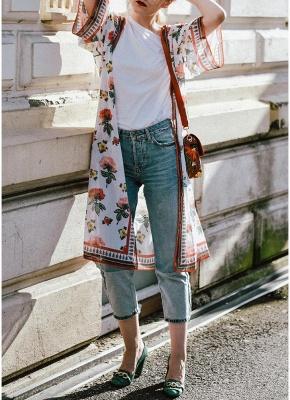 Women Chiffon Kimono Cardigan Sexy Bikini Cover Ups Flower Print Boho Long Beachwear_1