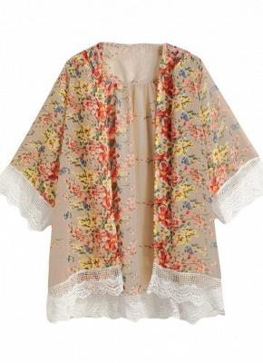 Vintage Floral Print Lace Hem Boho Chiffon Kimono_5