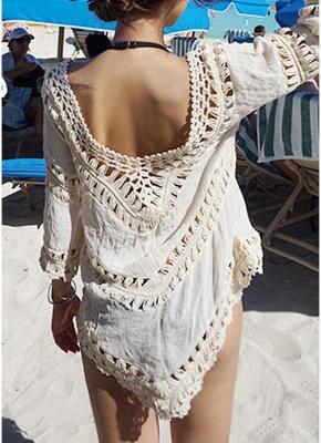 size Women Beach Cover Ups Hollow Out Crocheted Lace Deep V Neck Asymmetrical Hem_5