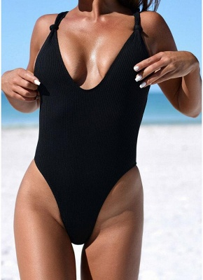 Women Ribbed Knotted Backless Monokini One Piece Swimsuit Deep V Neck High Cut  Beachwear_3
