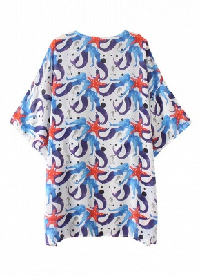 Women Chiffon Beach Kimono Mermaid Print Sea Holiday Cardigan_3