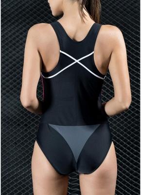 Women Professional One Piece Swimsuit Sports  Contrast Swimwear Swimming Suit_4