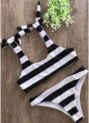 Striped Print Bow Top Bottom Sexy Bikini Set_4
