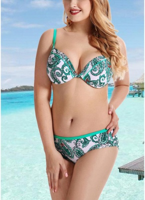 Women Plus Size  Sexy Bikini Set Underwire Swimsuit Beach Wear Two Piece_2