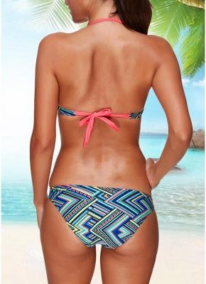 Women Sexy Bikini Set Halter Striped Geometric Print Bandage Underwire 3/4 Cups Swimwear Swimsuits_4