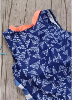 Women One Piece Swimsuit  Geometric Stripe Zipper Contrast Bodysuit Beach Wear Swimwear_4