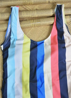 Women Striped Swimsuit Backless High Cut  Beach Playsuit_6
