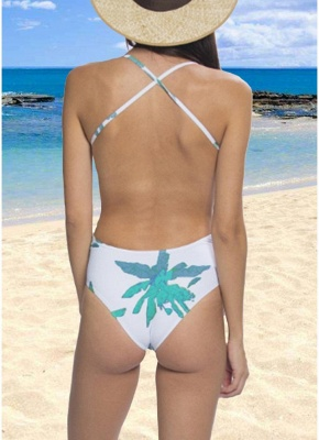 Leaf Print Bandage Backless One Piece Swimsuit_4