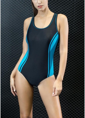 Sport Color Block Splicing Push Up Racer Backless One Piece Swimsuit_1