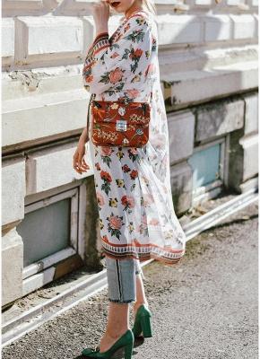 Women Chiffon Kimono Cardigan Sexy Bikini Cover Ups Flower Print Boho Long Beachwear_4