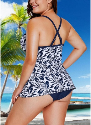 Women Plus Size Swimsuit Two Piece Set Plunge V Leaves Print Wirless Padded Cross Over Strap_3