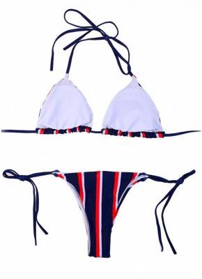 Halter Push Up Striped Tie Waist Padded Women Sexy Bikini Set_5