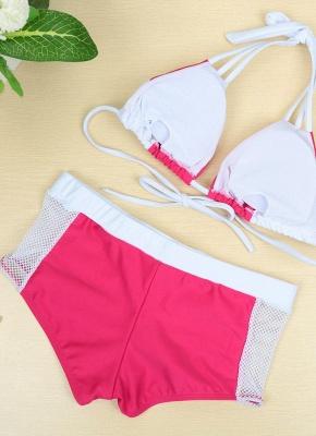 Color Block Halter Padded Two Piece Rose Sexy Bikini Set_3