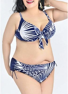 2xl Large Size Leaves Print Push Up Sexy Bikini Set_4
