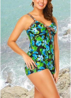 Flower Strap Tankini Top Shorts Set Bathing_3