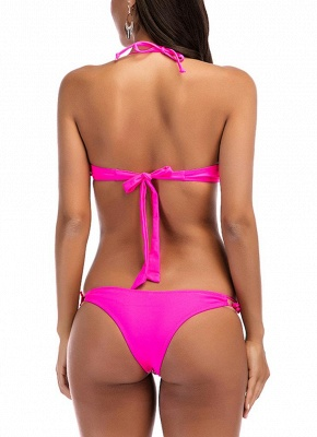 Halter Geometric Print Bandage Underwire Push Up Sexy Bikini Set_5