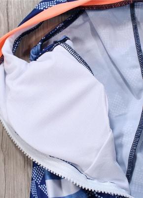 Women One Piece Swimsuit  Geometric Stripe Zipper Contrast Bodysuit Beach Wear Swimwear_7
