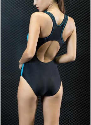 Sport Color Block Splicing Push Up Racer Backless One Piece Swimsuit_4