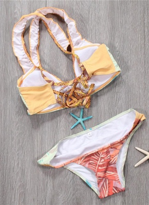 Women Sexy Bikini Set Spaghetti Strap Contrast Color Bandage Cross Lacing Padded Wireless Swimsuits Yellow_3