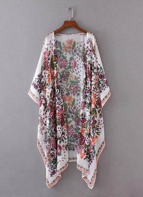 size Chiffon Floral Print Asymmetric Loose Long Kimono_4