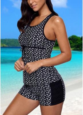 Women Swimsuit  Tankini Top Shorts Set Dot Print Lace Racerback Swimwear Beachwear Black_3