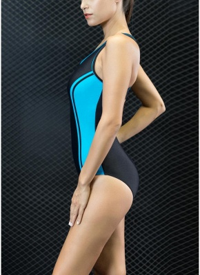 Sport Color Block Splicing Push Up Racer Backless One Piece Swimsuit_3