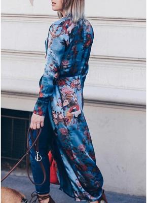 Vintage Women Kimono Floral Bird Print V Neck Tied Ethnic Oriental Outerwear_6