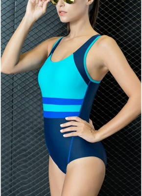 Women One-piece Swimsuit Contrast Color Padded Monokini  Swimwear_5