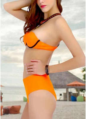 Halter Backless Bandage Padded Underwire Swimsuit_4