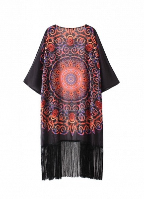 Chiffon Geometric Print Fringe Loose Long Kimono_4