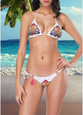 Women Two Pieces Swimsuit Strings Floral Sequins Beading O-ring Tassel Sexy Bikini Set Bathing_1