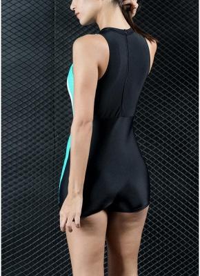 Women Sports One Piece Swimsuit Racing  Swimwear Beachwear Boxer Bodysuit_3